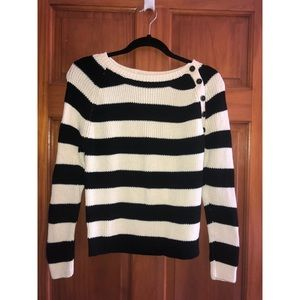 cream and black button detail sweater